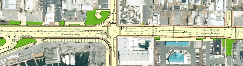 Colorized plan view of Rio Grande Avenue