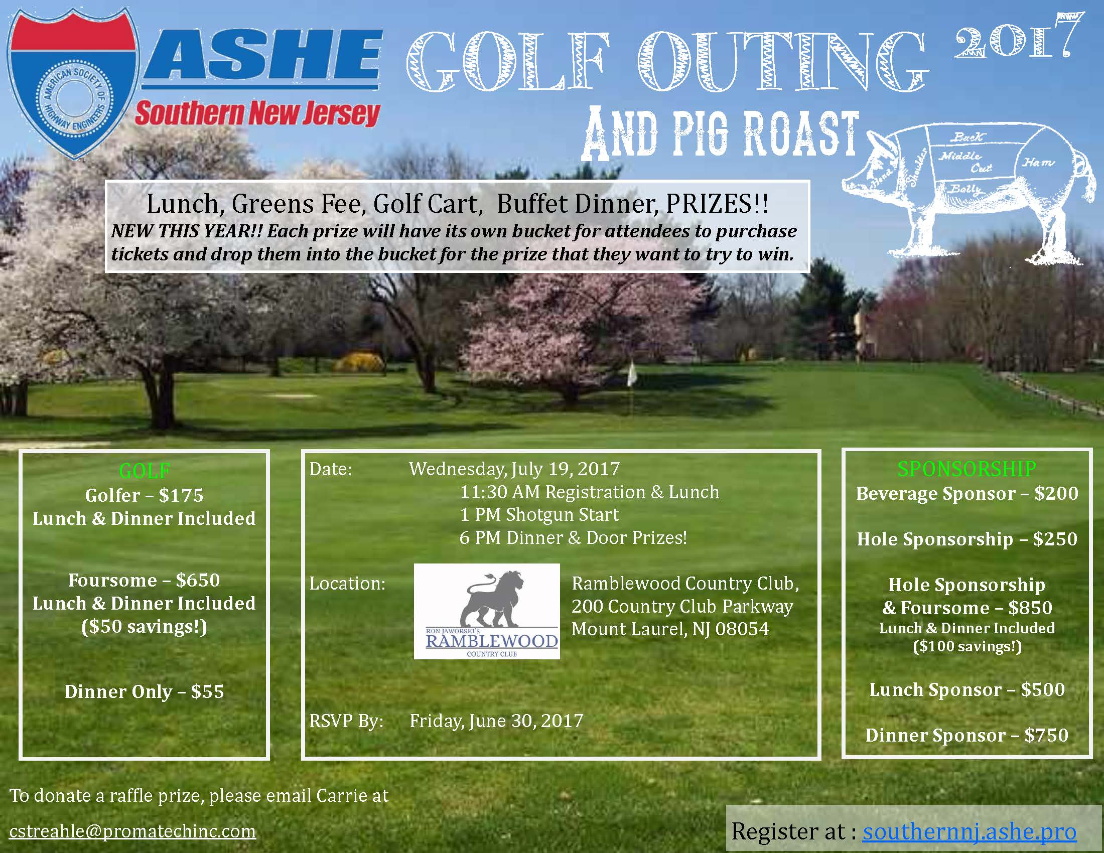 the annual ashe snj golf outing helps to fund the scholarships that are given out each year to students of southern new jersey your support and generous